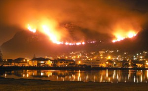 South Africa Muizenberg on fire